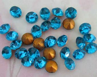 75 pcs. fire polished glass turquoise blue foiled rhinestones 5mm - f4086