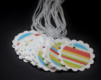 Fun Stripes, double layer hang tags, favor tags, party favors, gift tags, set of 16