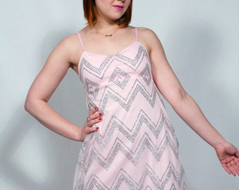 Pastel Pink and Silver Glitter Chevron Babydoll Dress MADE TO ORDER