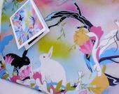 Frühling Bunny Tasche Art Limited Edition Rosa grün blau lila
