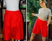 Hot PEPPER 1980's 90's Vintage Bright RED High Waist SILK Shorts // by Options Melrose // size Medium