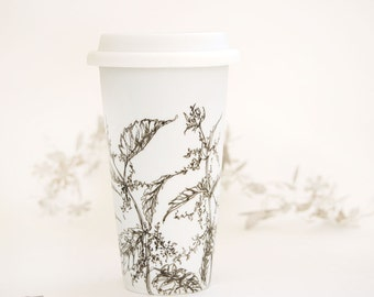 Eco-Friendly Ceramic Travel Mug - Stinging Nettle | Drawing Collection