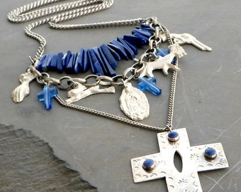 silver milagro necklace, blue lapis lazuli gemstone, large cross necklace, long double layered necklace