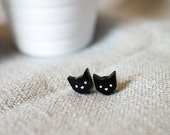 Kitty Cat face plastic earrings laser cut etched hand painted