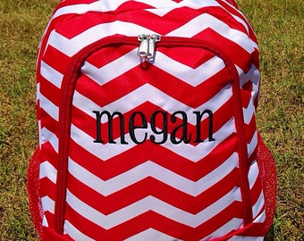 SALE Red Chevron Backpack Monogrammed Name or Initials of Your Choice