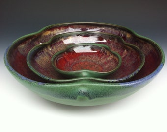 Nesting Bowl Set - Green and Red - READY TO SHIP