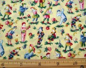 Fat Quarter Playtime Children Boy Girl Pierrot Jester Yellow Red Blue Allover on Yellow Novelty Fabric - Clothworks - OOP