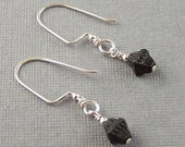 Sterling Silver Black Glass  Dangle Earrings