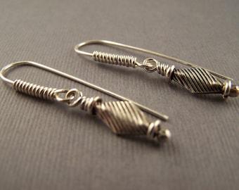 Sterling Silver KIte Shaped Dangle  Earrings