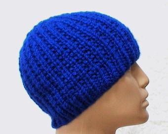 Royal blue ribbed beanie, skull cap, ski snowboard, blue hat, beanie hat, knit toque, reversible hat, mens womens hat, chemo cap, winter hat