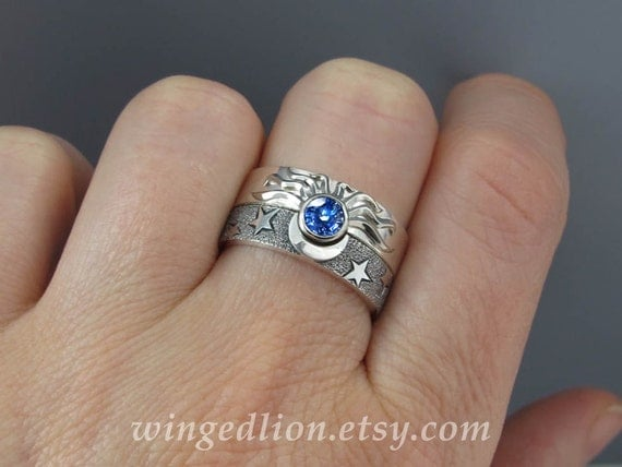 Eclipse Set The Blue Sun And Moon Engagement Ring And