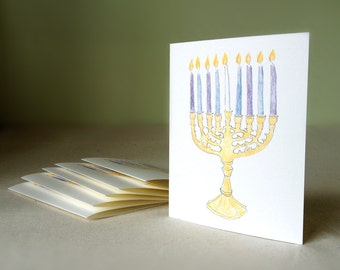 Cards - Menorah boxed set of 6 single fold