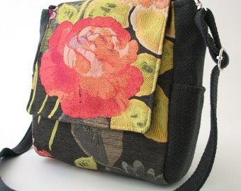womens backpack converts to messenger or  tote bag ,floral bag ,grey purse, fabric handbag, cross body bag, fit IPAD