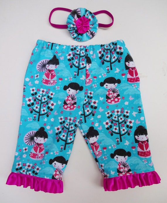 Baby girl clothes baby flannel pant set geisha girl by lindalou