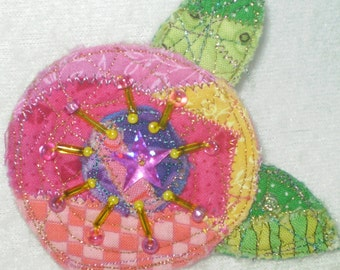 Quilted beaded flower pin- pink, yellow, purple, green flower pin brooch-handmade Mary Englebreit style flower pin