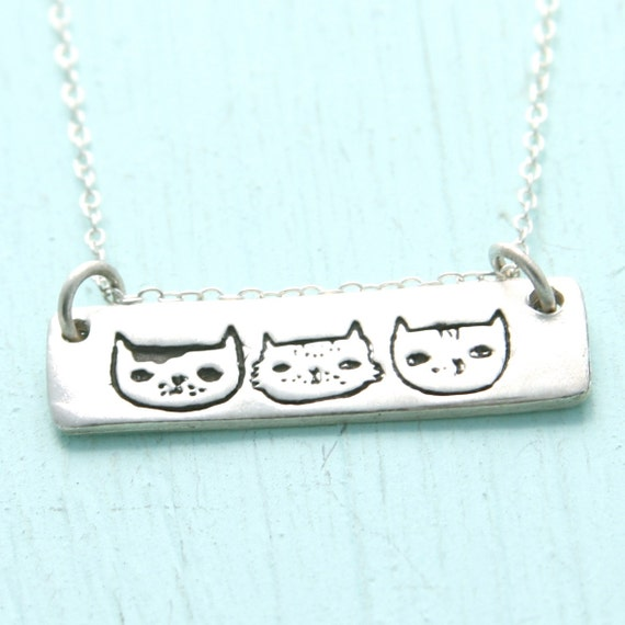 Illustrated CAT necklace trio of cats, artwork by Gemma Correll, eco-friendly silver and gold vermeil.  Handcrafted by Chocolate and Steel