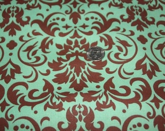 Green and Brown Damask Fabric - One Yard - Marshall Dry Goods