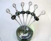 Stainless Steel Cocktail Appetizer Picks Set of 6 with Black, Blue, and Yellow Lampwork Glass Beads