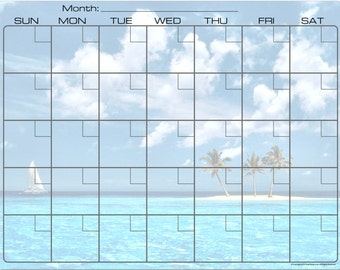 Exotic Tropical Island Sailboat Dry Erase Monthly Calendar Fridge Magnet #3589