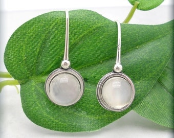 Moonstone Earrings Sterling Silver Gemstone Jewelry (SE983)