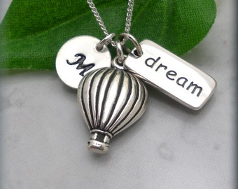 Hot Air Balloon Necklace Dream Necklace Inspirational Quote Friendship Jewelry Graduation Gift Sterling Silver (SN848)