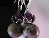 Lavender and Green Ocean Jasper earrings Amethyst; Hill Tribe Dogwood flower bead caps; spiral sterling ear wires dangly protective healing