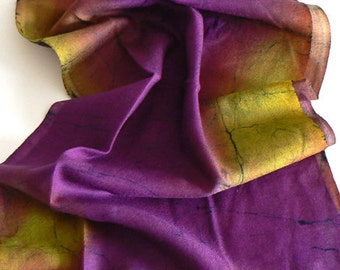 Purple Handmade 100% Wool Scarf  Batik  Warm and Soft