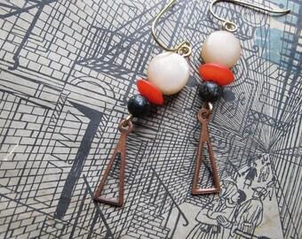 Geometric Earrings, Stacked Bead, Vintage 1970s Copper Triangle Charm, Red Cream Black, Trendy Geometric Jewelry, Geometric Dangles