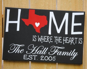 Personalized State Art Sign Gifts: ANY STATE Home is Where the Heart Is--Personalized Wedding Gift,  Anniversary Gift