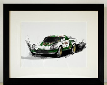 Lancia Stratos Rally Car Illustration