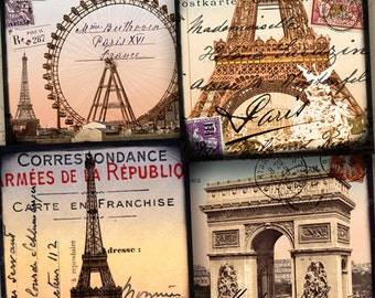French Paris digital collage sheet in large 4x4 inch squares for coasters, greeting cards and more -- printables by piddix 958