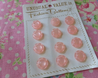 pearly pink. vintage buttons on card