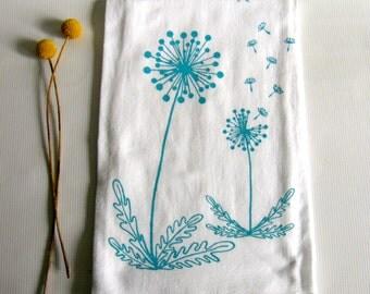 Tea Towel, Dandelions Blowing in the Wind, Cotton Flour Sack Dish Towel,  Turquoise, Mustard Yellow, Green, Orange