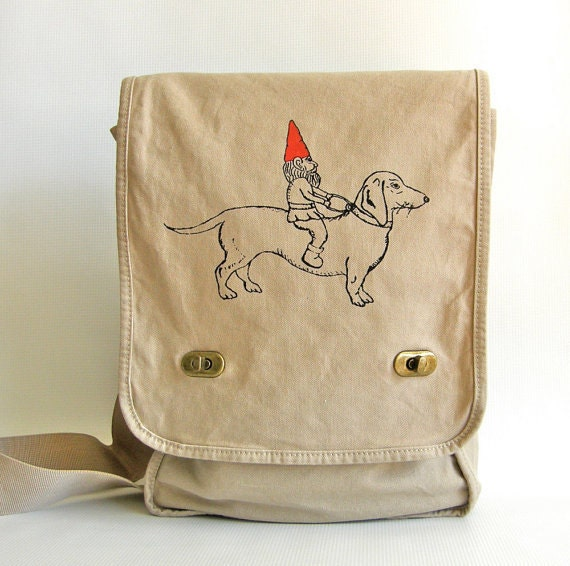 Dachshund and Gnome Messenger Bag, Field Bag-Screen Printed Cotton Canvas- Cross body bag