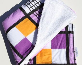 80's Hipster Baby Blanket - Personalized Minky Baby Blanket - Purple and Orange Mod Blanket