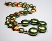 Iridescent Green & Bright Copper Necklace Warm Rustic Brushed Coin Pearls Swarovski Rose Gold Crystals Mossy Olive Chartreuse Fiery Flames