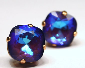 Bright Purple Crystal Stud Earrings Classic Sparkling Deep Amethyst Royal Violet Indigo Solitaire Swarovski 12mm Sterling Silver Post Copper