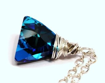Teal Blue Crystal Necklace Royal Bermuda Indigo Rare Swarovski Crystal Fancy Sterling Silver Chain Oxidized Bright Long Short Geometric Tri