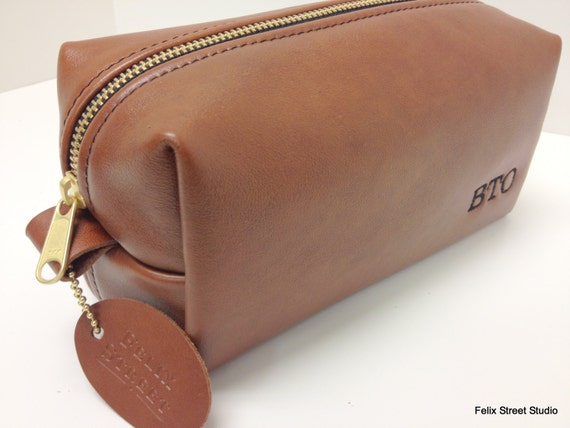 Personalized Whiskey Leather Dopp Kit with Initials and Optional Custom Lining for Him
