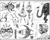 Art stamp plate  Rubber stamps  Steampunk  elephant bird bug fairy rubber Stamp  tateam EUC team  1448