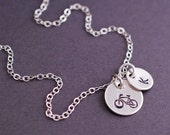 Personalized Bike Necklace, Gift for Cyclist, Sterling Silver Bike Charm, Bike Riding, Cyclist Jewelry
