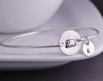 Elephant Bracelet, Elephant Jewelry, Personalized Elephant Bangle Bracelet