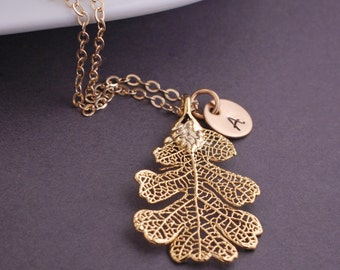 Real Leaf Necklace, Fall Jewelry, Personalized Gold Dipped Leaf, Lacey Oak Tree Leaf