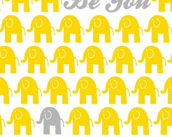 Yellow and Grey Nursery Decor, Elephant Theme 11X14 Print - Inspirational Kids, Nursery Wall Art, Nursery Art