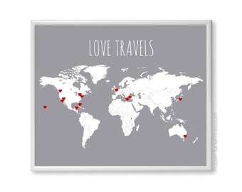 Travel Decor Husband Anniversary Gift, World Map Print, DIY World Travel Map With Stickers, First Anniversary Traveler Gift for Wife, 16x20