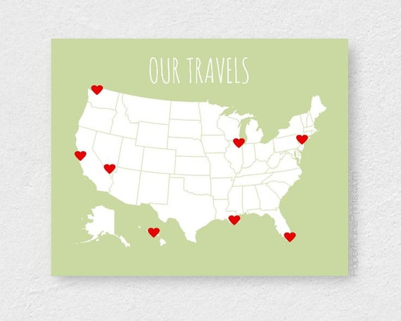 Boyfriend Gift Travel Map With Stickers DIY Map Kit Family – Family Travels Map