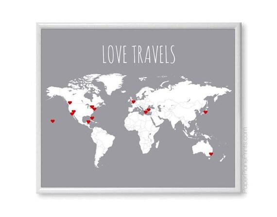 Wedding Gift Ideas Usa : Welt-Reise-Karte - Bausatz enth?lt rotes Herz Aufkleber, Traveler ...