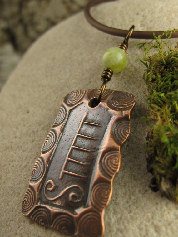 Ash Celtic Tree Astrology Ogham Copper Pendant, Celtic Tree Oracle, Irish Celtic Jewelry, Viking Norse Nordic Druid, Pagan Wicca Jewelry