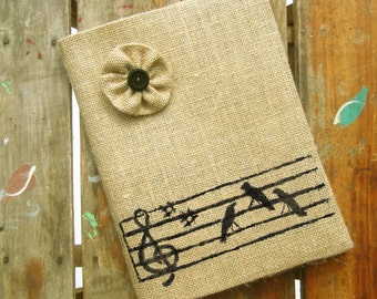 Songbirds - Burlap Feed Sack Journal Cover w. Notebook