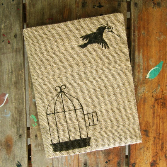 Free to Fly -  Burlap Feed Sack Journal Cover w. Notebook - Journal with Birdcage and Skeleton Key